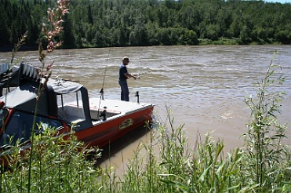 A jet boat adds the necessary mobility to successful Alberta sturgeon angling