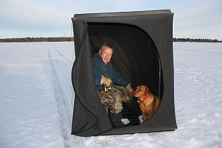 A collapsable ice fishing tent gives you the hard water angling edge