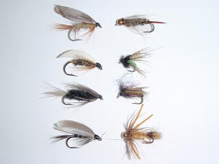 Traditional wet flies on the left, modern nymphs that can fished as wet flies on the right