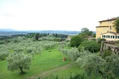 View of Tuscany from the agriturismo deck.