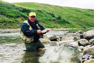 Author Neil Waugh with a Waterton River brown trout.