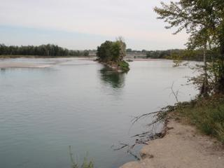 Before the flood in June 2013 the Bow River used to flow entirely to the left of the island in the middle of the picture, to the right used to be a pond in Carburn Park