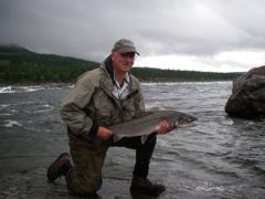 The author with a nice George River Atlantic salmon