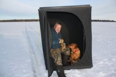 An ice angling tent is an essential ingredient in sight fishing